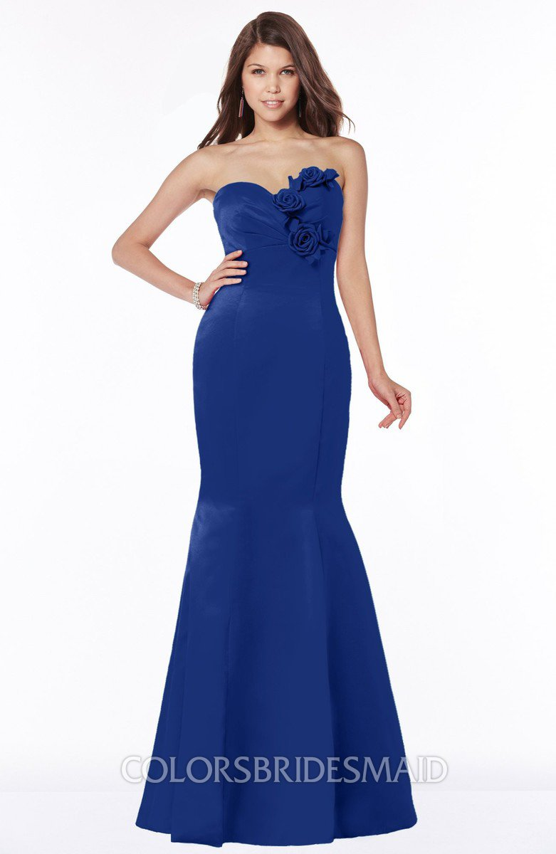 e3496095be7 ColsBM Linda Electric Blue Glamorous Fishtail Sweetheart Half Backless  Satin Flower Bridesmaid Dresses