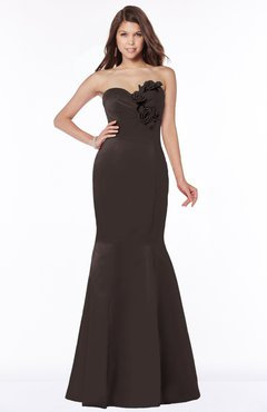 ColsBM Linda Espresso Glamorous Fishtail Sweetheart Half Backless Satin Flower Bridesmaid Dresses