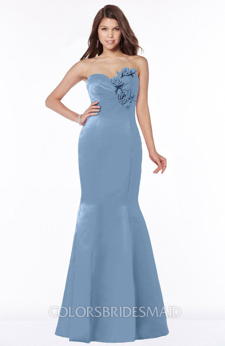 557486a288a ColsBM Linda Faded Denim Glamorous Fishtail Sweetheart Half Backless Satin  Flower Bridesmaid Dresses