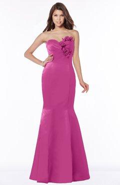 ColsBM Linda Hot Pink Glamorous Fishtail Sweetheart Half Backless Satin Flower Bridesmaid Dresses