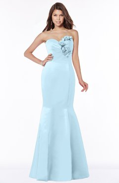 ColsBM Linda Ice Blue Glamorous Fishtail Sweetheart Half Backless Satin Flower Bridesmaid Dresses