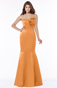 ColsBM Linda Mango Glamorous Fishtail Sweetheart Half Backless Satin Flower Bridesmaid Dresses