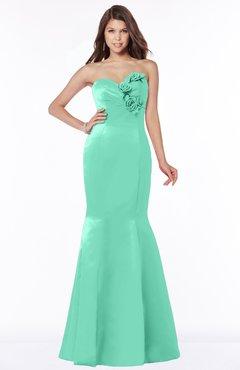 ColsBM Linda Mint Green Glamorous Fishtail Sweetheart Half Backless Satin Flower Bridesmaid Dresses