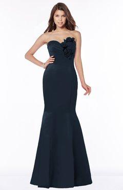 ColsBM Linda Navy Blue Glamorous Fishtail Sweetheart Half Backless Satin Flower Bridesmaid Dresses