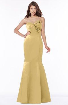 ColsBM Linda Ochre Glamorous Fishtail Sweetheart Half Backless Satin Flower Bridesmaid Dresses
