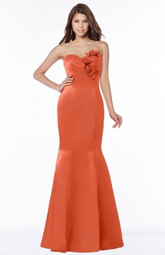 ColsBM Linda Persimmon Glamorous Fishtail Sweetheart Half Backless Satin Flower Bridesmaid Dresses