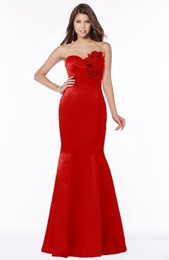 ColsBM Linda Red Glamorous Fishtail Sweetheart Half Backless Satin Flower Bridesmaid Dresses