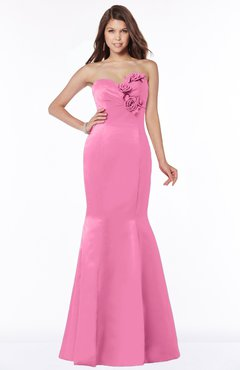 ColsBM Linda Rose Pink Glamorous Fishtail Sweetheart Half Backless Satin Flower Bridesmaid Dresses