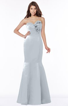 ColsBM Linda Silver Glamorous Fishtail Sweetheart Half Backless Satin Flower Bridesmaid Dresses