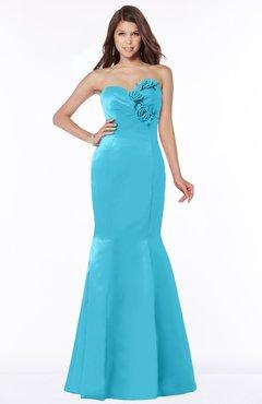 ColsBM Linda Turquoise Glamorous Fishtail Sweetheart Half Backless Satin Flower Bridesmaid Dresses