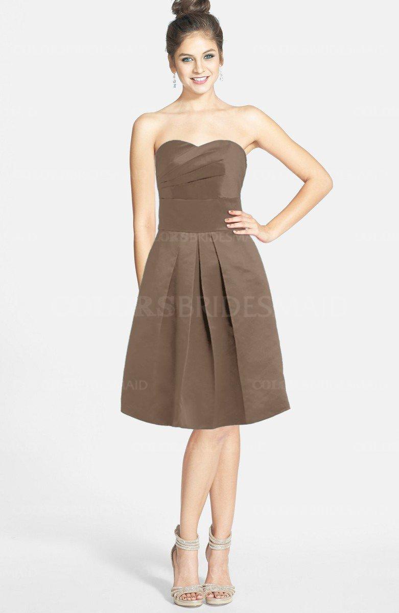Bronze brown glamorous strapless sleeveless zip up satin knee glamorous strapless sleeveless zip up satin knee length bridesmaid dresses ombrellifo Gallery