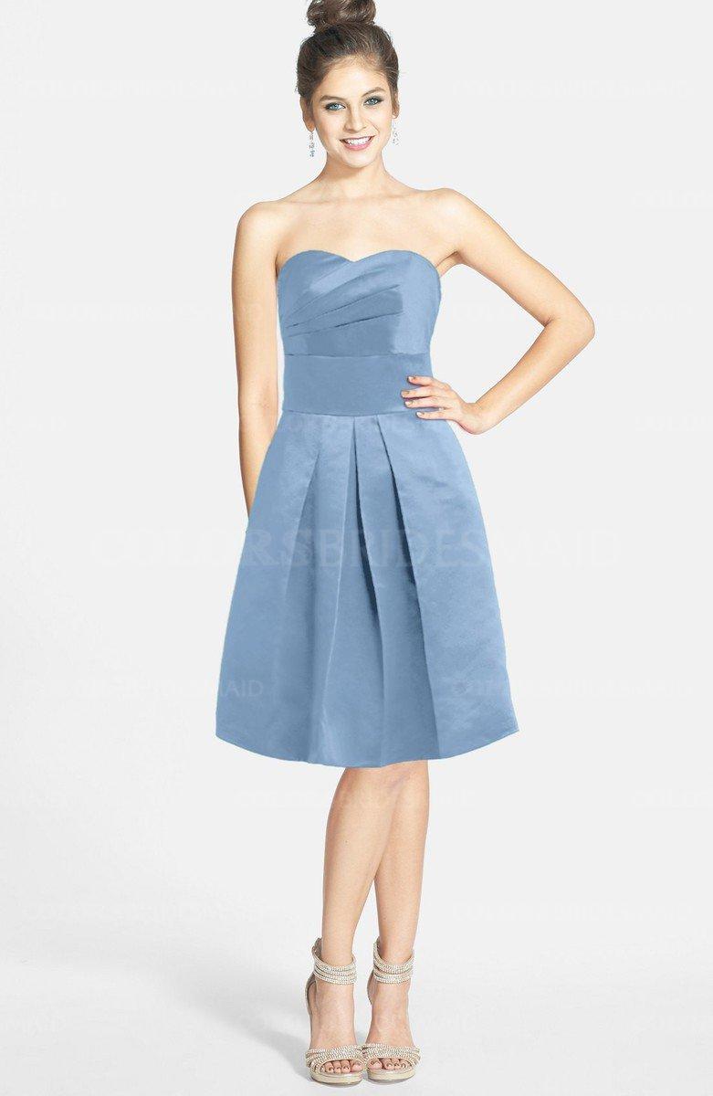 699c2a2d28d ColsBM Jessie Faded Denim Glamorous Strapless Sleeveless Zip up Satin Knee  Length Bridesmaid Dresses