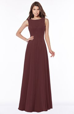 ColsBM Anika Burgundy Modest A-line Scoop Sleeveless Zip up Chiffon Bridesmaid Dresses
