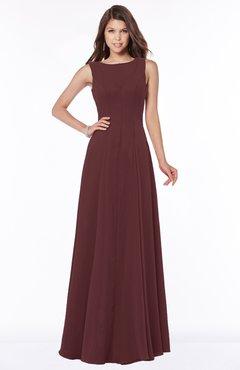ColsBM Anika Burgundy Modest A-line Scoop Sleeveless Zip up Chiffon Bridesmaid Dresses