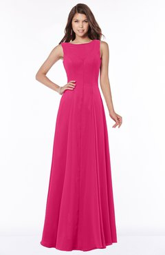ColsBM Anika Fuschia Modest A-line Scoop Sleeveless Zip up Chiffon Bridesmaid Dresses