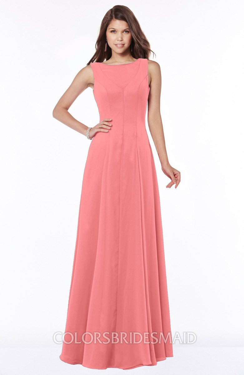 Shell pink modest a line scoop sleeveless zip up chiffon bridesmaid modest a line scoop sleeveless zip up chiffon bridesmaid dresses ombrellifo Image collections