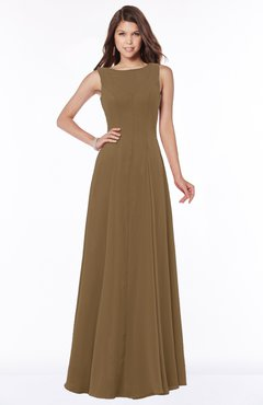 ColsBM Anika Truffle Modest A-line Scoop Sleeveless Zip up Chiffon Bridesmaid Dresses
