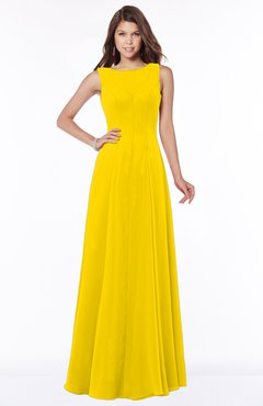 ColsBM Anika Yellow Modest A-line Scoop Sleeveless Zip up Chiffon Bridesmaid Dresses