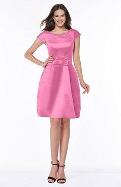aee55b10e6 ColsBM Noor Rose Pink Modest Scoop Short Sleeve Zip up Satin Plainness Bridesmaid  Dresses