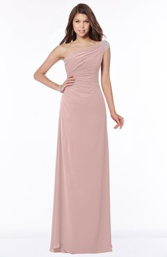 ColsBM Eliana Blush Pink Glamorous A-line Short Sleeve Zip up Chiffon Floor Length Bridesmaid Dresses
