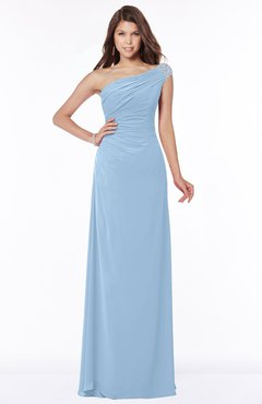 ColsBM Eliana Dusty Blue Glamorous A-line Short Sleeve Zip up Chiffon Floor Length Bridesmaid Dresses