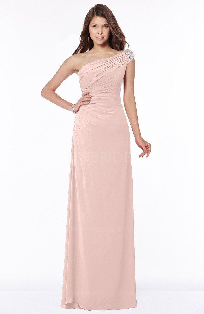 Dusty Rose Glamorous A Line Short Sleeve Zip Up Chiffon