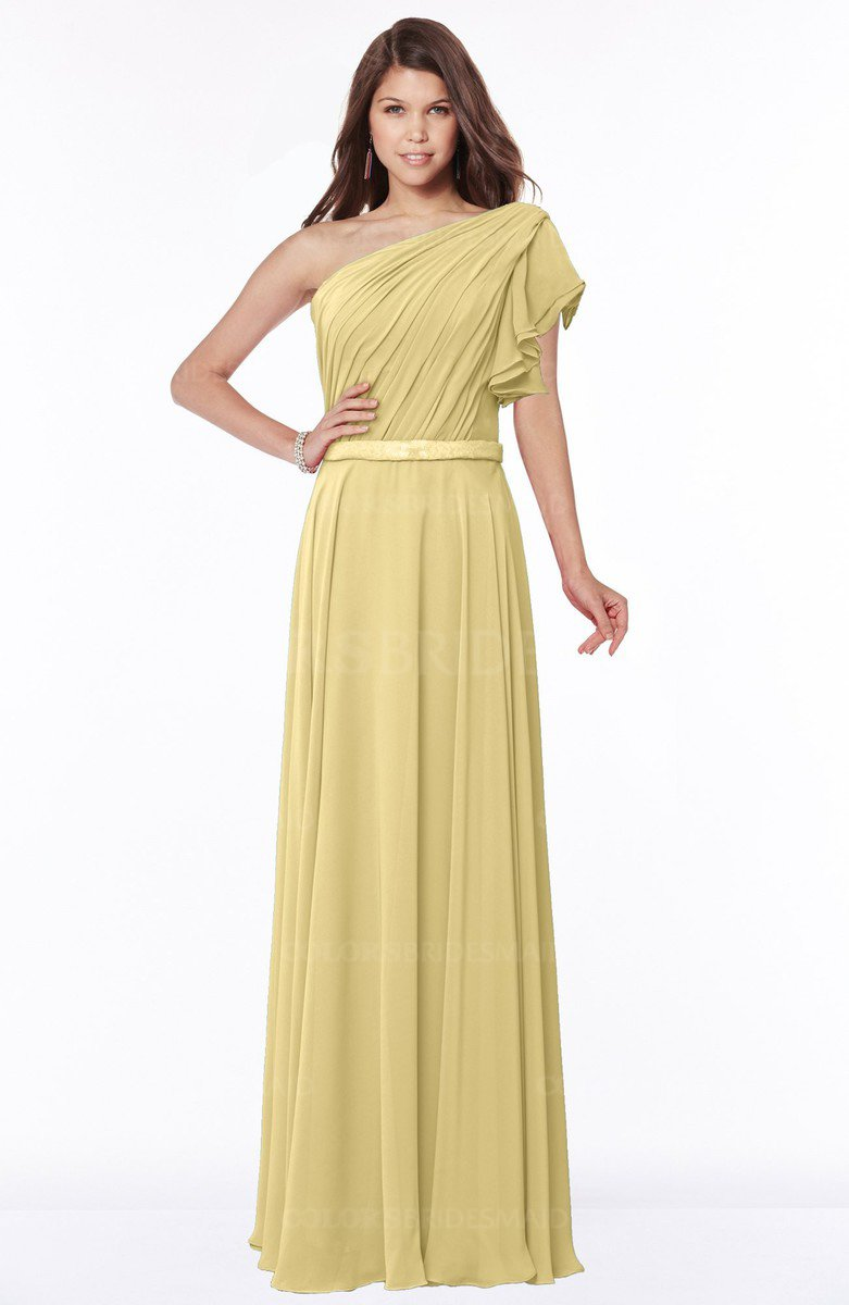 Colsbm Alexia Gold Modest A Line Zip Up Chiffon Floor Length Ruching Bridesmaid Dresses