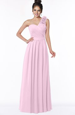 ColsBM Elisa Baby Pink Simple A-line One Shoulder Half Backless Chiffon Flower Bridesmaid Dresses