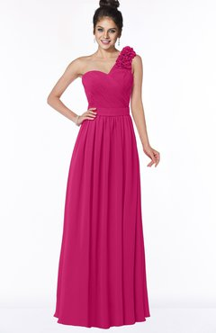 ColsBM Elisa Beetroot Purple Simple A-line One Shoulder Half Backless Chiffon Flower Bridesmaid Dresses