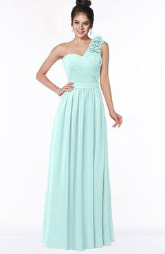 ColsBM Elisa Blue Glass Simple A-line One Shoulder Half Backless Chiffon Flower Bridesmaid Dresses