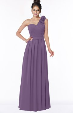 ColsBM Elisa Chinese Violet Simple A-line One Shoulder Half Backless Chiffon Flower Bridesmaid Dresses