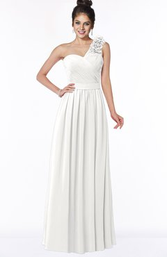 ColsBM Elisa Cloud White Simple A-line One Shoulder Half Backless Chiffon Flower Bridesmaid Dresses