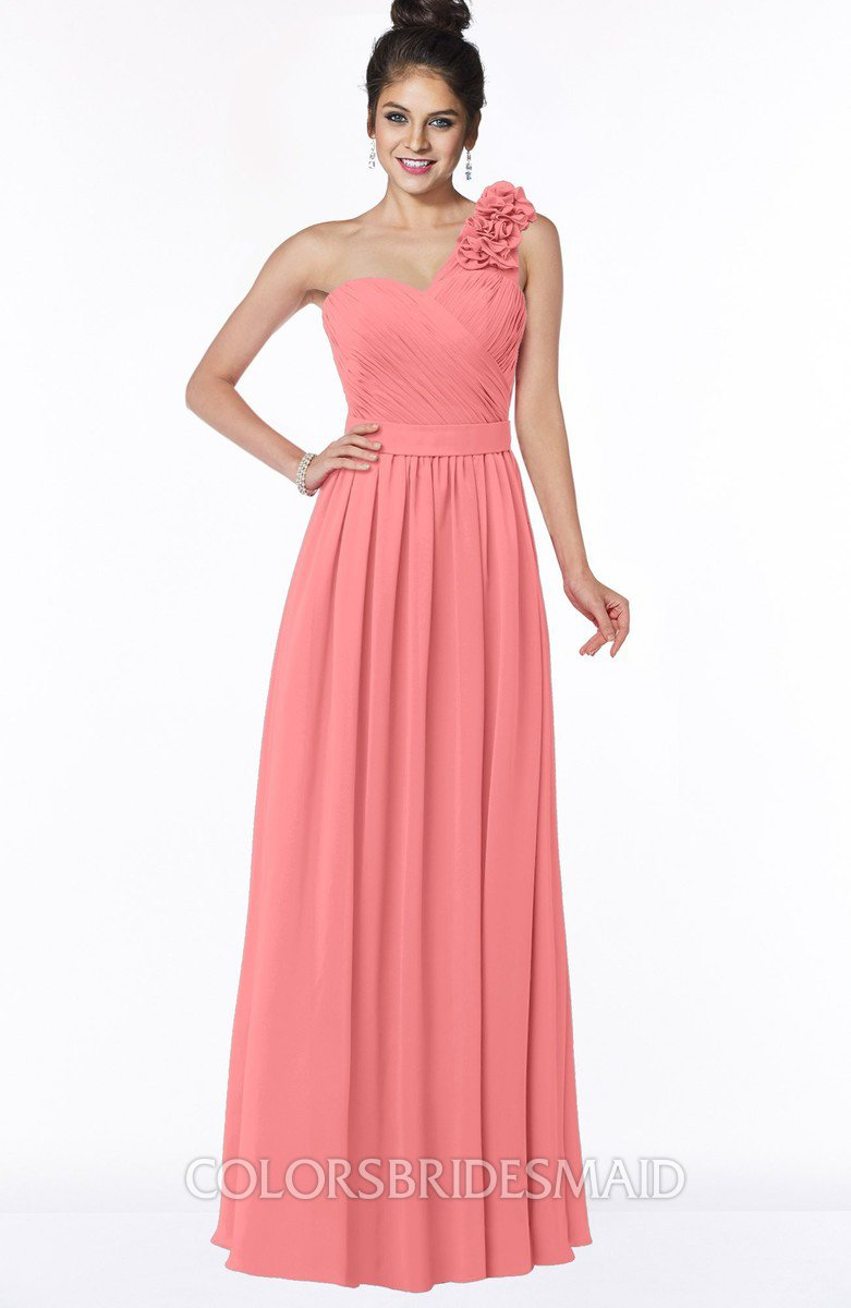 f4cbaf08a9a ColsBM Elisa Coral Simple A-line One Shoulder Half Backless Chiffon Flower Bridesmaid  Dresses