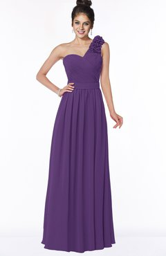 ColsBM Elisa Dark Purple Simple A-line One Shoulder Half Backless Chiffon Flower Bridesmaid Dresses