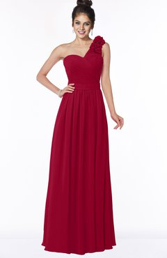 ColsBM Elisa Dark Red Simple A-line One Shoulder Half Backless Chiffon Flower Bridesmaid Dresses