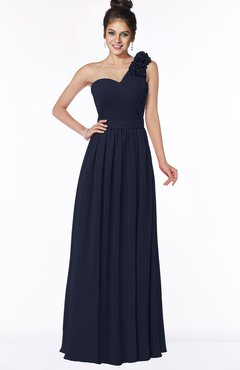ColsBM Elisa Dark Sapphire Simple A-line One Shoulder Half Backless Chiffon Flower Bridesmaid Dresses