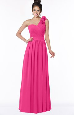 ColsBM Elisa Fandango Pink Simple A-line One Shoulder Half Backless Chiffon Flower Bridesmaid Dresses