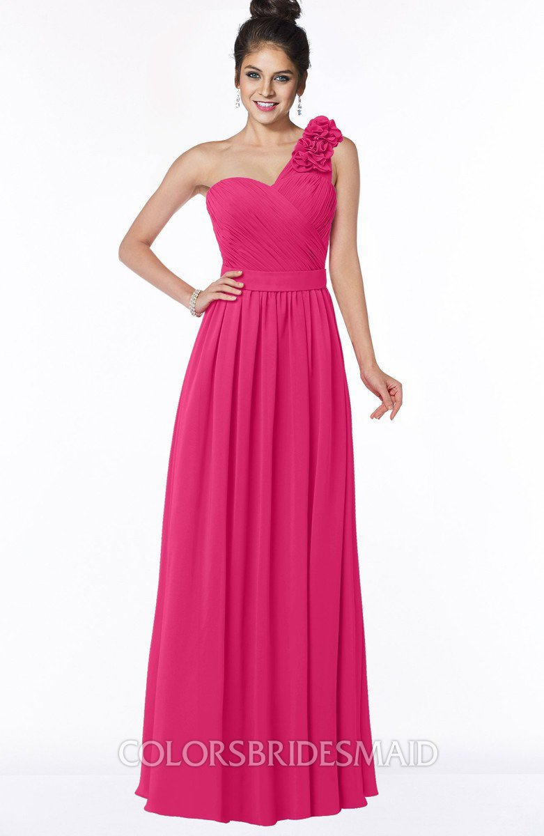 7468250a3baf8 ColsBM Elisa Fuschia Simple A-line One Shoulder Half Backless Chiffon  Flower Bridesmaid Dresses