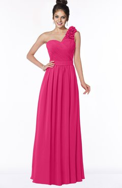 ColsBM Elisa Fuschia Simple A-line One Shoulder Half Backless Chiffon Flower Bridesmaid Dresses