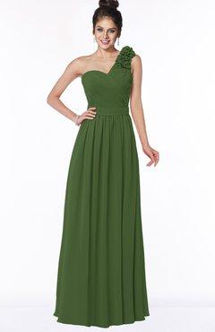 ColsBM Elisa Garden Green Simple A-line One Shoulder Half Backless Chiffon Flower Bridesmaid Dresses