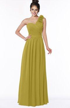 ColsBM Elisa Golden Olive Simple A-line One Shoulder Half Backless Chiffon Flower Bridesmaid Dresses