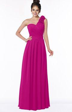 ColsBM Elisa Hot Pink Simple A-line One Shoulder Half Backless Chiffon Flower Bridesmaid Dresses
