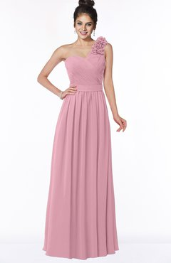 ColsBM Elisa Light Coral Simple A-line One Shoulder Half Backless Chiffon Flower Bridesmaid Dresses