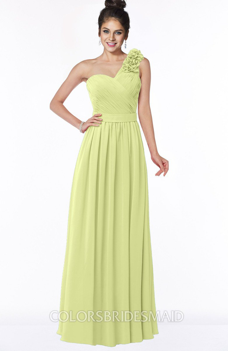 Colsbm Elisa Lime Green Simple A Line One Shoulder Half Backless Chiffon Flower Bridesmaid Dresses