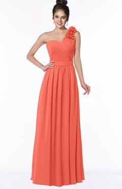 ColsBM Elisa Living Coral Simple A-line One Shoulder Half Backless Chiffon Flower Bridesmaid Dresses