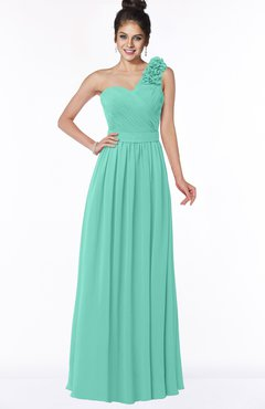 ColsBM Elisa Mint Green Simple A-line One Shoulder Half Backless Chiffon Flower Bridesmaid Dresses
