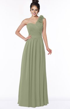 ColsBM Elisa Moss Green Simple A-line One Shoulder Half Backless Chiffon Flower Bridesmaid Dresses