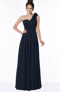 ColsBM Elisa Navy Blue Simple A-line One Shoulder Half Backless Chiffon Flower Bridesmaid Dresses