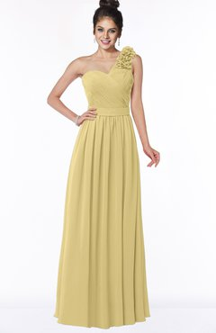 ColsBM Elisa New Wheat Simple A-line One Shoulder Half Backless Chiffon Flower Bridesmaid Dresses