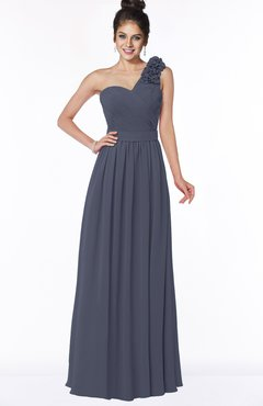 ColsBM Elisa Nightshadow Blue Simple A-line One Shoulder Half Backless Chiffon Flower Bridesmaid Dresses